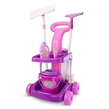 Carrito de limpieza rosa y lila. Incluye una escoba-mopa, un cubo,