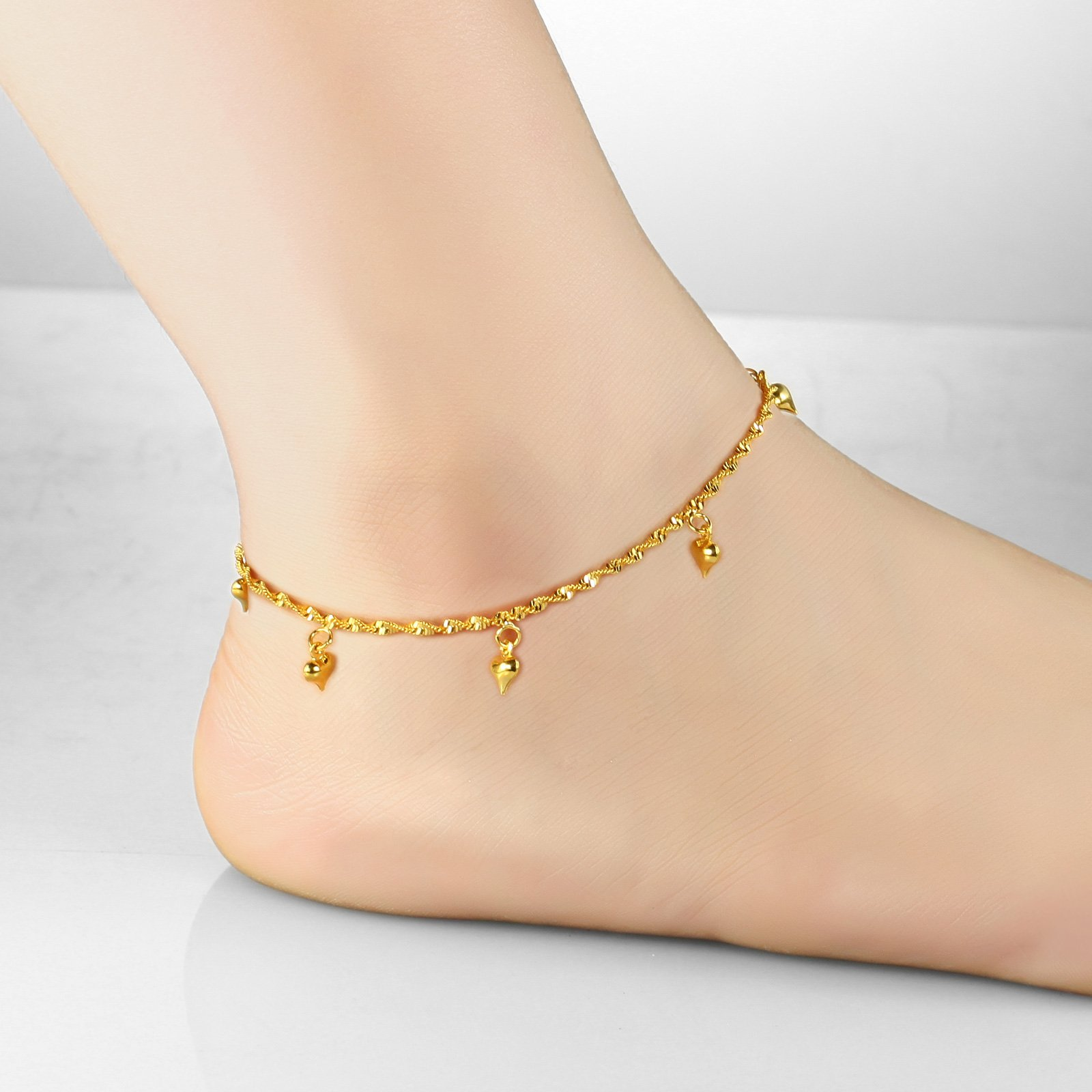 Women's Anklet Bracelet 18k Gold Plated Heart Tassel Pendants Foot Chain Summer Accessory Adjustable L9.7''