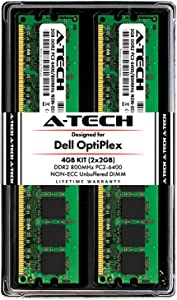 A-Tech 4GB (2 x 2GB) Memory RAM Kit for Dell OptiPlex 960, 760, 755, 745, 740, 360, 330, 160, (MT, DT, SFF, USFF) - DDR2 800MHz PC2-6400 Non-ECC DIMM Modules