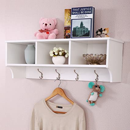 Superbe Amazon.com: Patcharaporn Entryway Wall Mount Coat Rack Storage Shelf Cubby  Organizer Hooks White: Home U0026 Kitchen