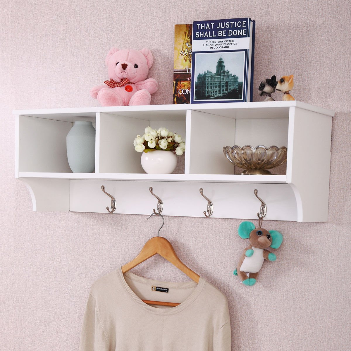 patcharaporn Entryway Wall Mount Coat Rack Storage Shelf Cubby Organizer Hooks White
