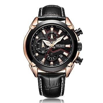 Relojes Deportivos De Cuero para Hombre, Reloj Impermeable para Los Hombres Relojes De Cuarzo De