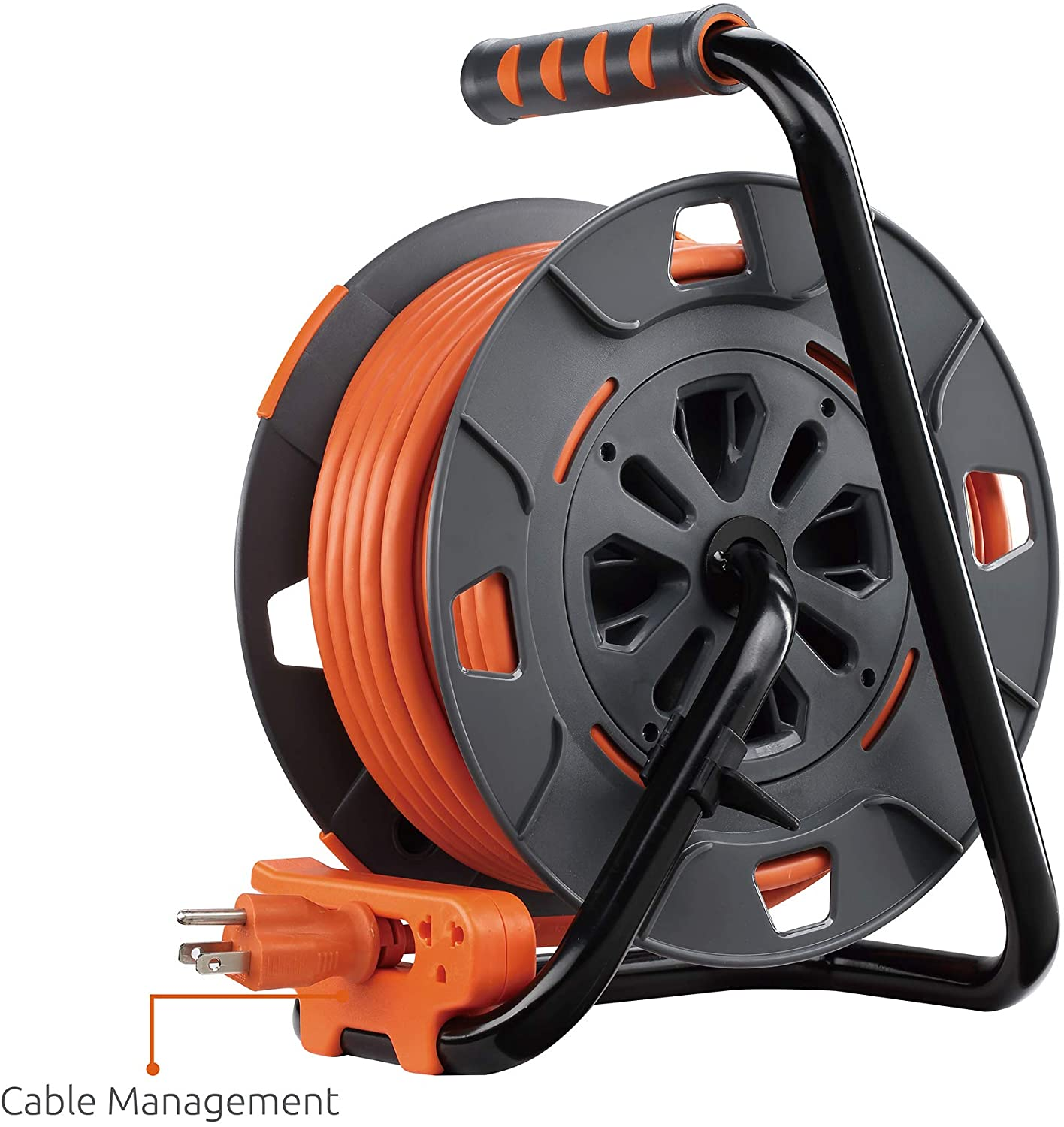 14 AWG SJTW Cable Heavy Duty High Visibility Power Cord. Extension Cord 4 Power Outlets Link2Home Cord Reel 80 ft