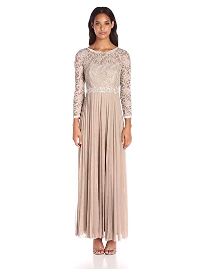 Amazon.com: Decode 1.8 Womens Glitter Lace Long Sleeve Embellished Gown With Pleated Skirt: Clothing