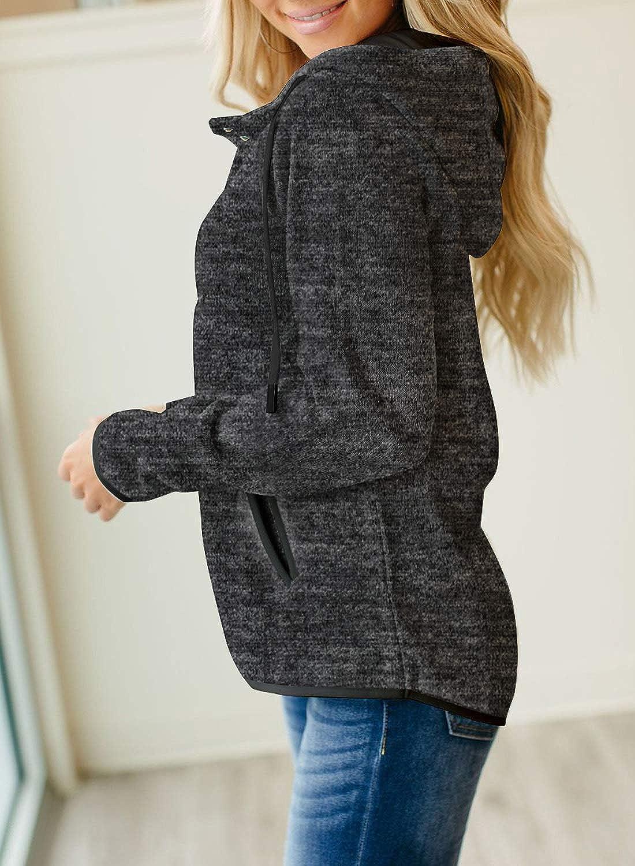 Dearlove Women Casual Button Neck Hoodies Sweatshirt Long Sleeve Drawstring Pocket Pullover Tops Plus Size A-black