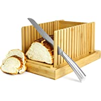 Bamboo Bread Slicer   Loaf Cutting Board & Knife Slicing Guide   Adjustable, Foldable, Compact   Suitable For Homemade or Bought Bread Cakes & Loaves   M&W