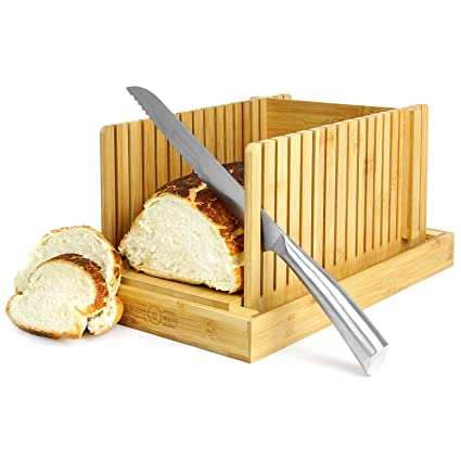 Maison & White Cortadora de pan de bambú | Tabla y guía de cortar | Ajustable