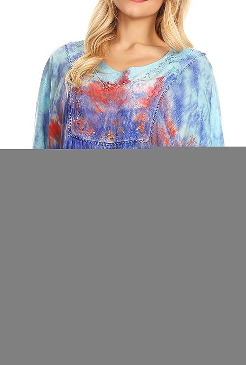 Sakkas 15031 - Lepha Larga y Ancha Colorido del Tinte del Lazo de Lentejuelas Bordado Poncho Blusa Superior - Light Blue - OS: Amazon.es: Ropa y accesorios