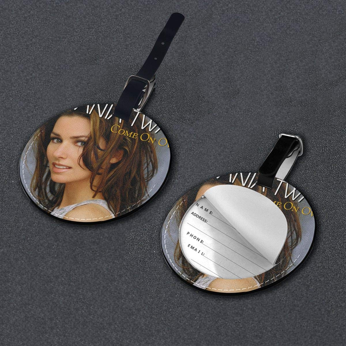 Shania Twain Come On Over Travel Leather Round Luggage Tags Suitcase Labels Bag
