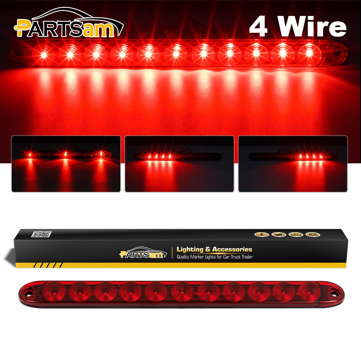 Partsam 15 Red Hi Mount Center ID Bar 11 LED Stop Turn Tail Light Trailer Truck 4 Wires