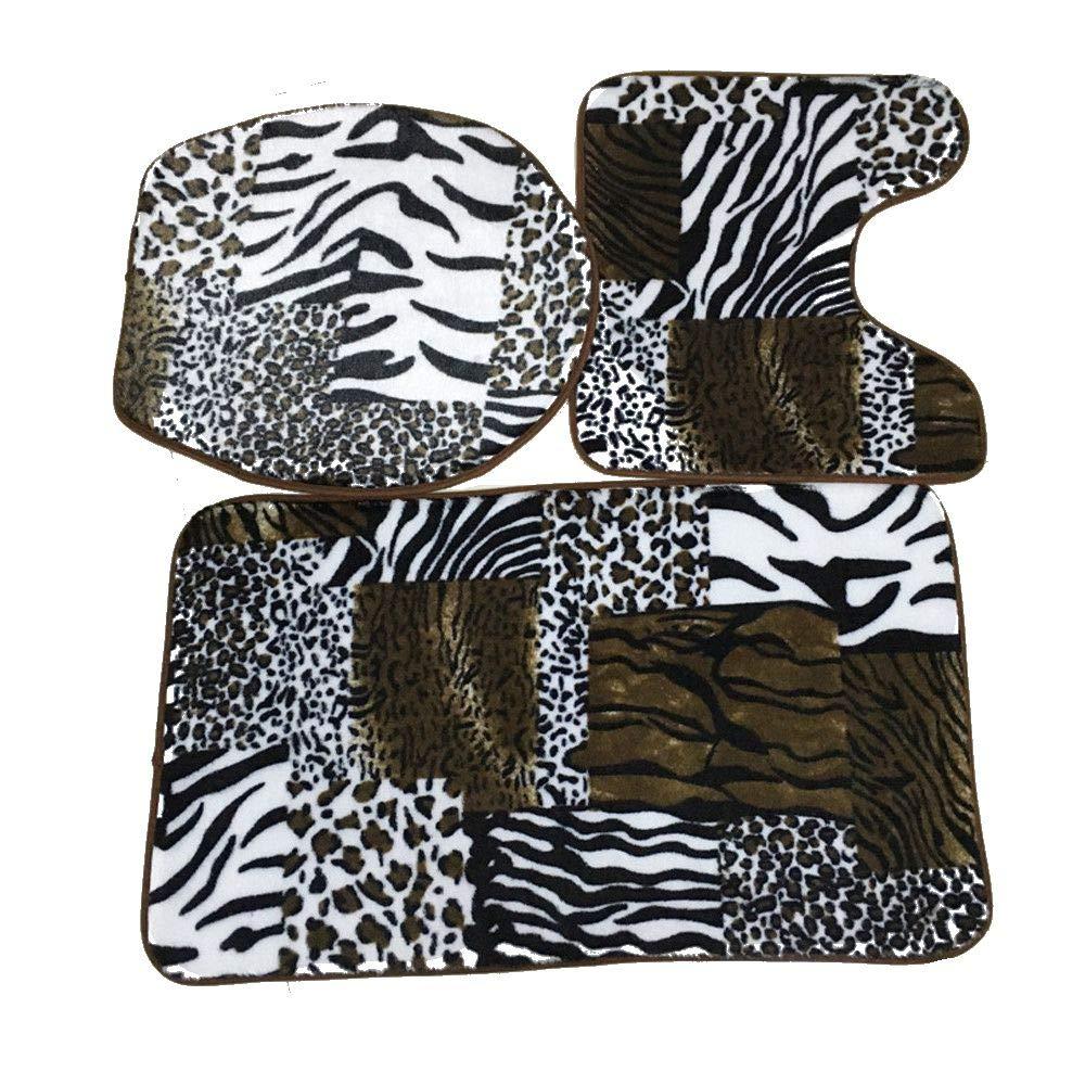 WM & MW Non-Slip Bathroom Mats Fashion Patchwork Leopard Print Pedestal Rug + Lid Toilet Cover + Bath Mat Set (As Show) wm-121