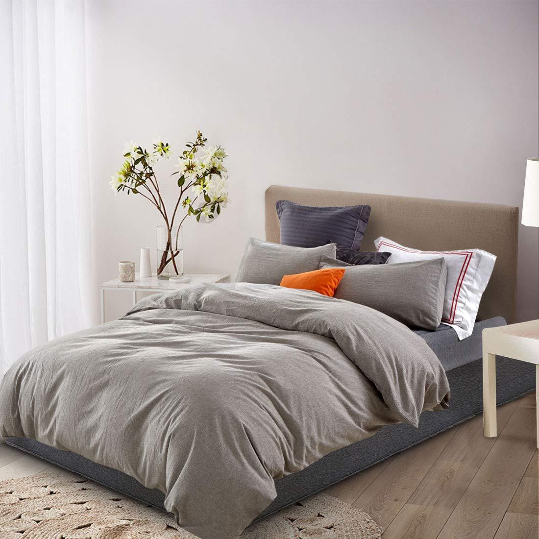 ATsense Duvet Cover Sets, 100% Washed Cotton, Queen 3-Piece Bedding Duvet Cover, Simple Style Farmhouse Bedding Set (Grey 7063) by ATsense (Image #2)