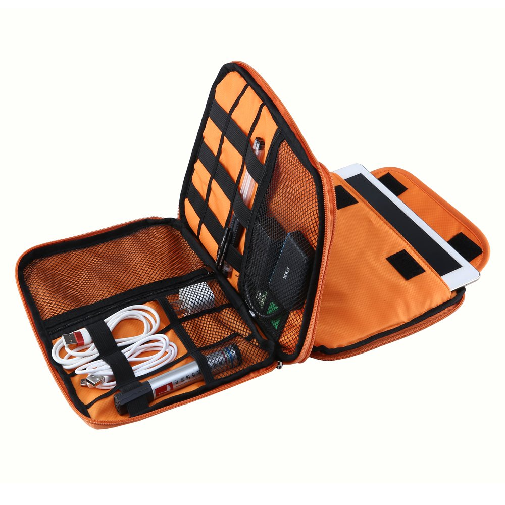 Elvoes Electronics Accessories Case, Waterproof Portable Cable Organizer Bag, Multifunctional Travel Digital Accessories Storage Bag for Pen Hard Cables Earphone Ipad Iphone