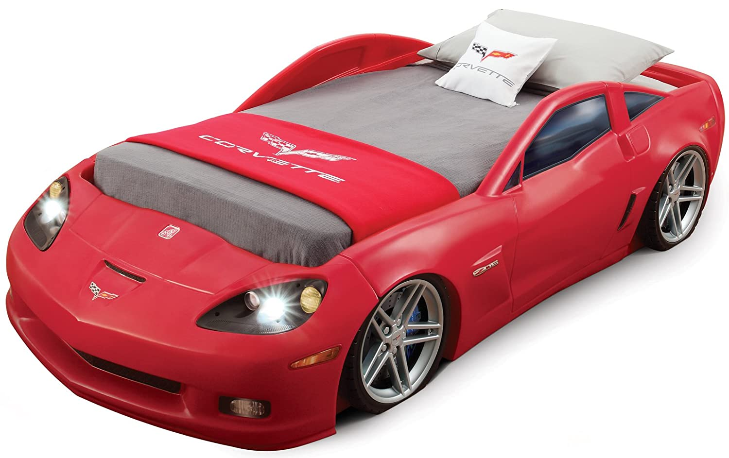Race car beds for adults - Amazon Com Step2 Corvette Bed With Lights Red Silver Black Toys Games