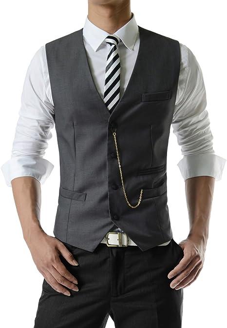 Amazon.com: TheLees SVE Chaleco de 3 botones para hombre con ...