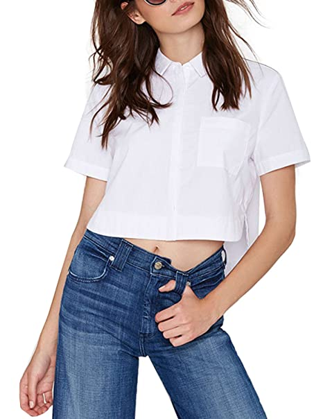 726f04ed6ab97 HaoDuoYi Womens Casual Basic High Low Short Sleeve Button Down Top ...
