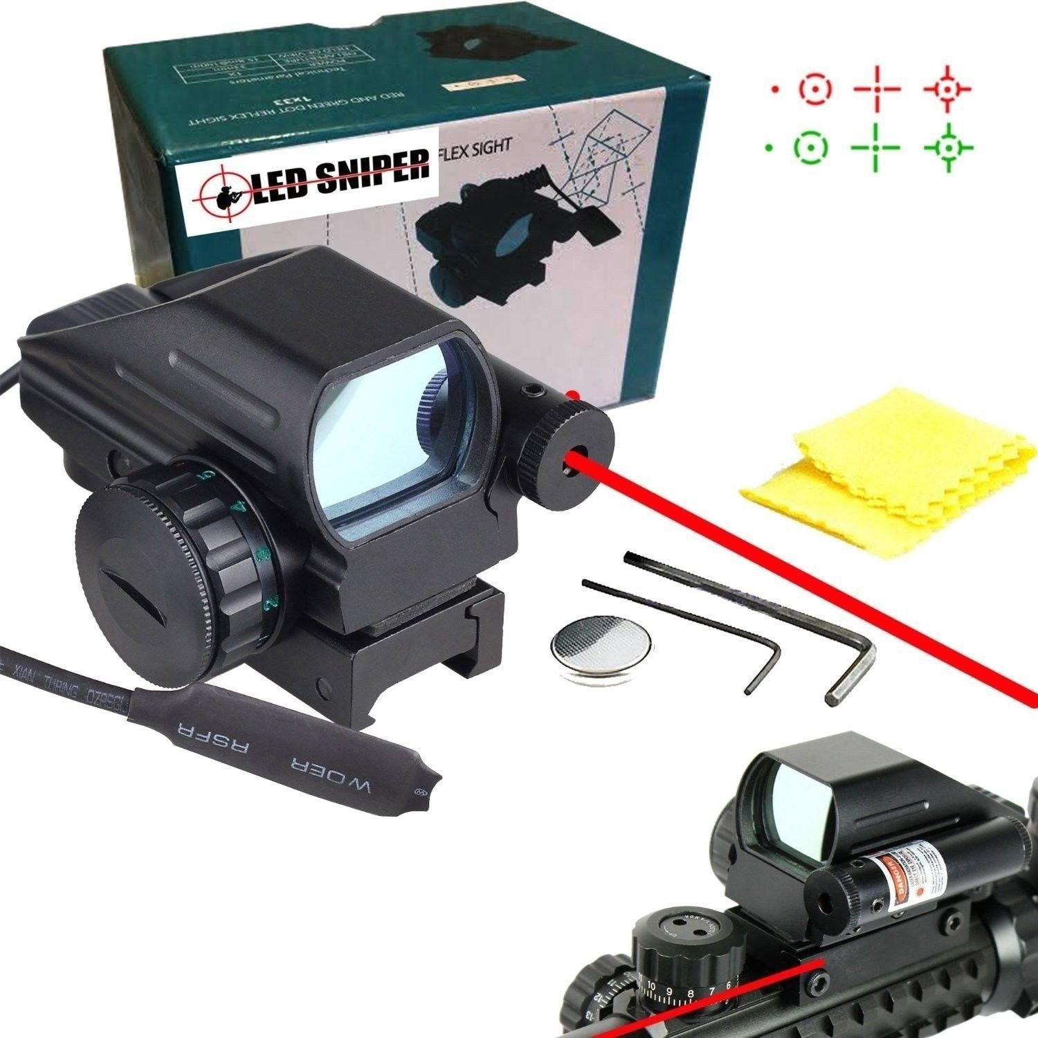Ledsniper Useful Tactical Holographic Reflex Dot Scope 4 Reticle and Laser Sight, Red and Green