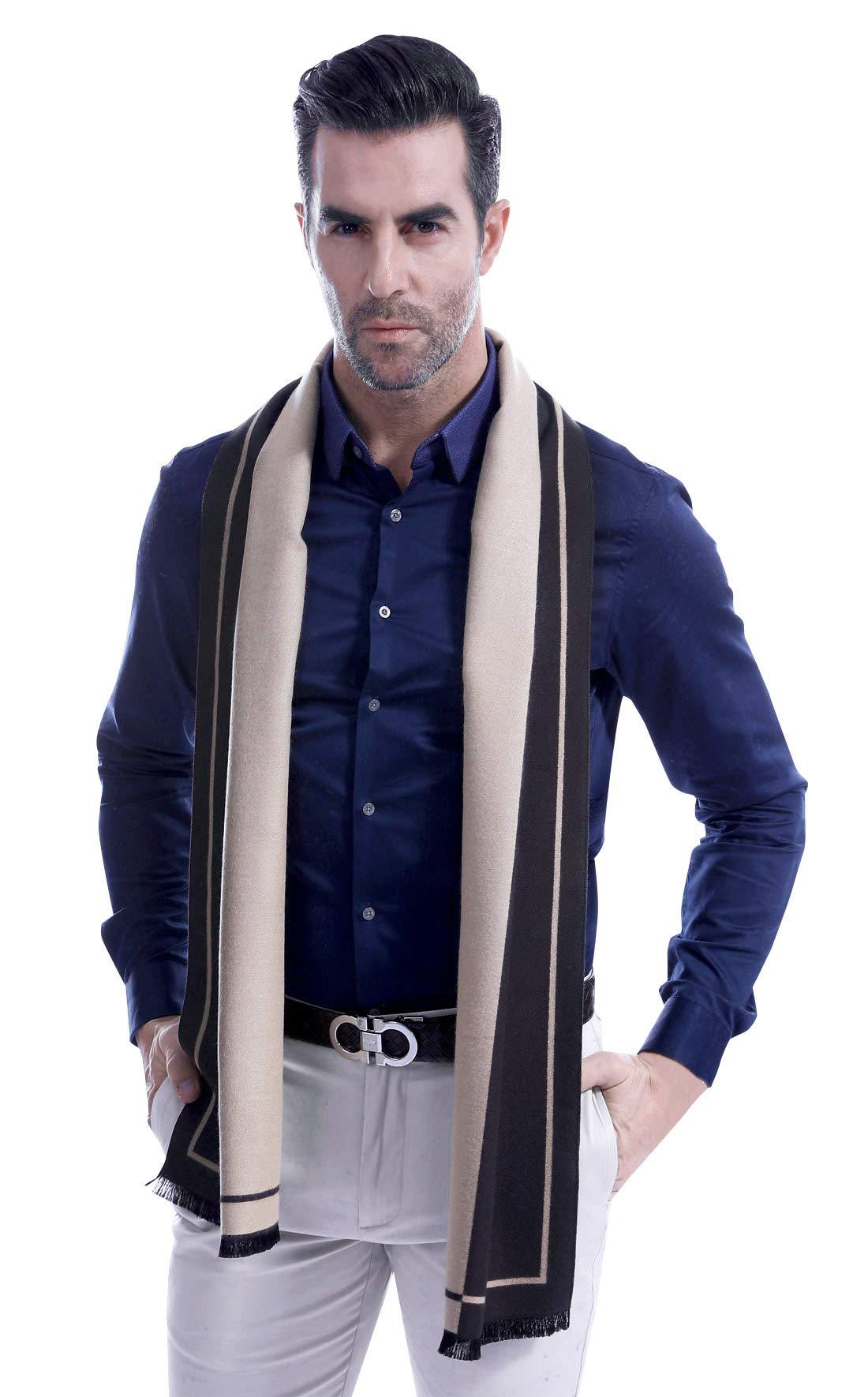 Classic Men's Business Warm Scarf Super Soft Cashmere & Wool Blend Scarf Long Winter Warm Neckerchief Beige & Black