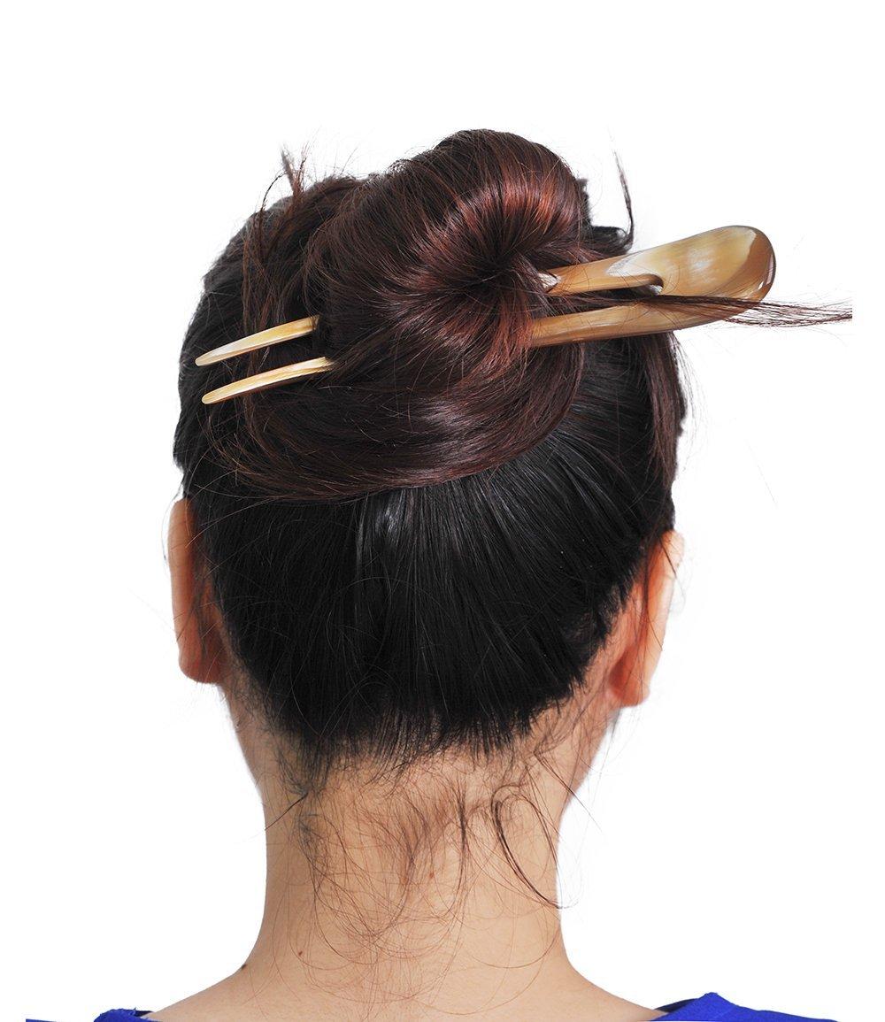"""Mary Crafts Simple Buffalo Horn Hair Fork, Hairfork, Hair Pin, Hairpin 6.6"""""""