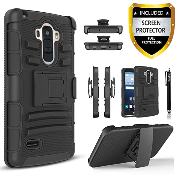 half off ddd3c 0ff87 LG G Stylo Case, LG Stylus Case, LG G Stylo Combo Rugged Shell Cover  Holster with Built-in Kickstand and Holster Locking Belt Clip Black +  Circle(TM) ...