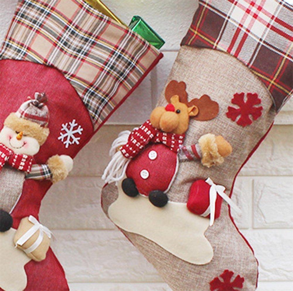 Dosige 1pcs Medias de Navidad Calcetines de Navidad Chimenea para el regalo del bolso de azúcar, decoración del árbol de navidad, fiesta de Navidad (Papá ...
