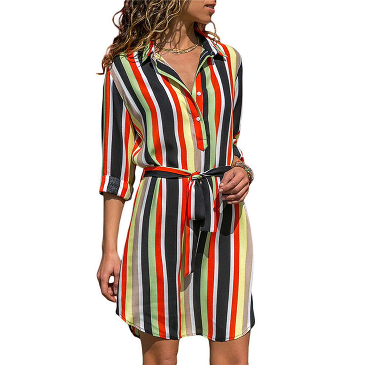 Clearance Long Sleeve Shirt Dress 2019 Summer Chiffon Boho Beach Dresses Women Casual Striped Print A-line Mini Party Dress Vestidos