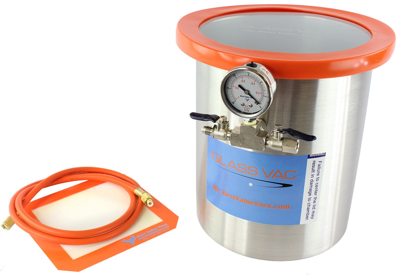 GlassVac 3 Gallon Tall Stainless Steel Vacuum Degassing Chamber for Wood Stabilizing