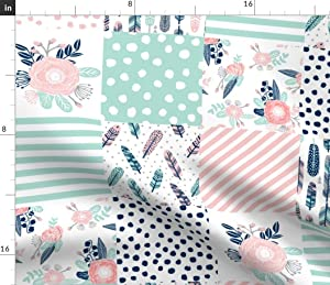 Spoonflower Fabric - Feathers Cheater Quilt Mint Navy Pink Girls Cute Squares Block Printed on Denim Fabric by The Yard - Bottomweight Apparel Home Decor Upholstery