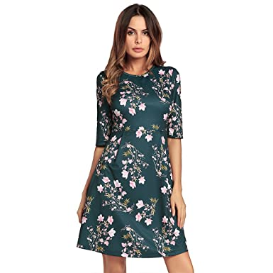 68c25b754031 Kemosen Damen Casual Kleid Blusenkleid Frauen Elegant 3 4 Ärmel A-Linie  Kleider