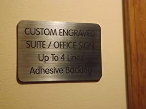 Custom Engraved 4x6 Brushed Silver Black Lettering Door Suite Wall Sign   Name Plate   Personalized Wall Plaque   Business Doctor Law Firm Home Office Cafe Shop   Up to 4 Text Lines   Adhesive Backed