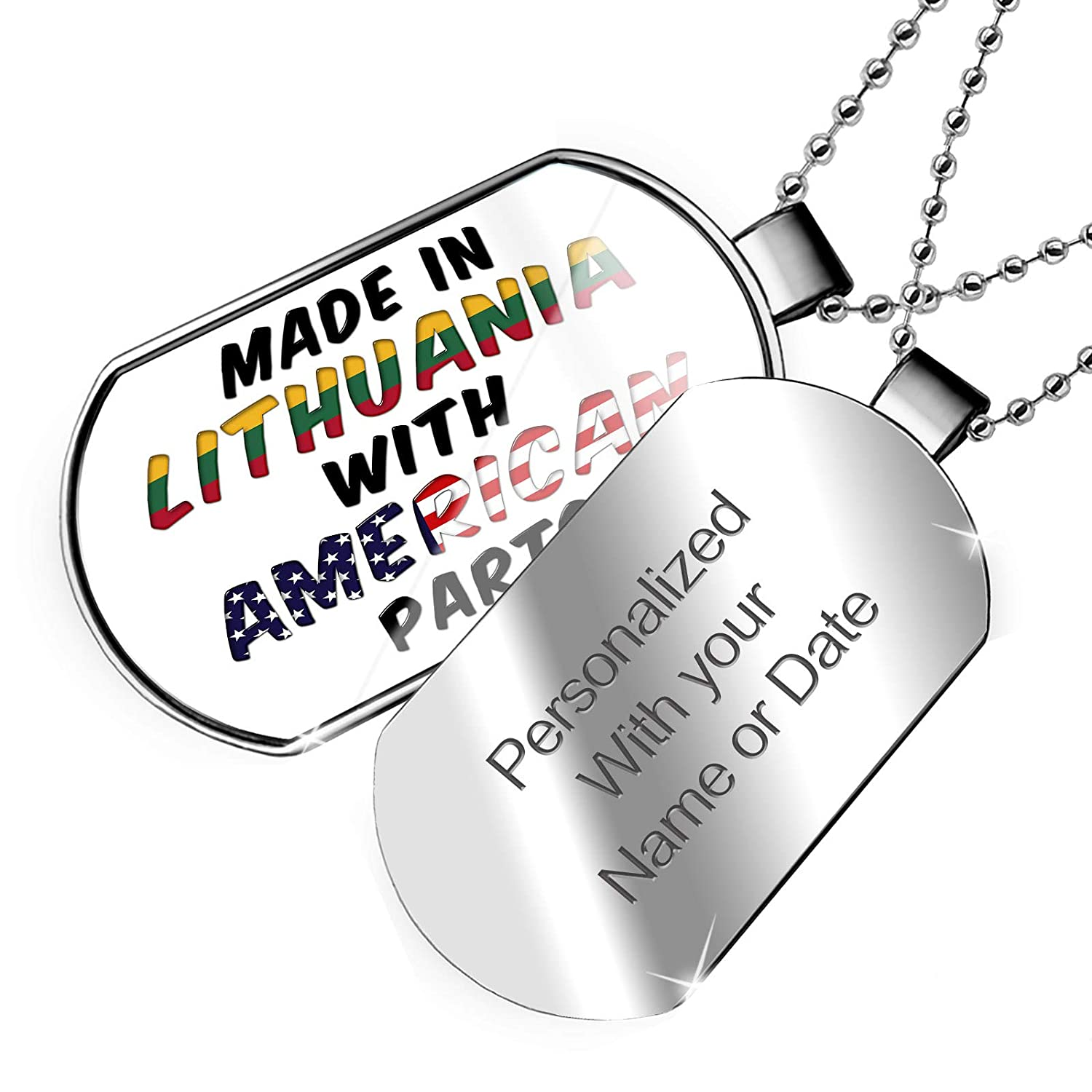 NEONBLOND Personalized Name Engraved American Parts but Made in Lithuania Dogtag Necklace