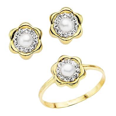 6785c19a44cf Conjunto juego niña oro amarillo 18 ktes 1ª Comunión anillo y pendientes  flor con perlas y circonitas  Amazon.es  Joyería