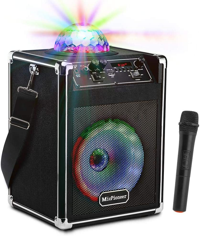 MicPioneer Bluetooth Karaoke Machine with Disco Lights, 25W Portable PA Sound System with Wireless Microphone for Kids and Adults