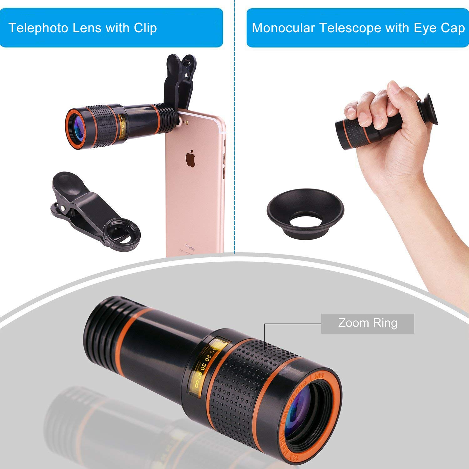 22b2be3482e5ef Macro and Wide Angle Lens for iPhone X 8 7 6 Plus Samsung Android Smartphone  GD-GC-6 Tripod Fisheye Cell Phone Camera Lens Kit SEVENKA 18X Zoom ...