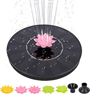 Adeeing Solar Powered Fountain Pump for Bird Bath 1.4W Solar Fountain Floating Water Fountain with 5 Flower Shape Nozzles Solar Panel Kit for Outdoor Garden Pond Pool