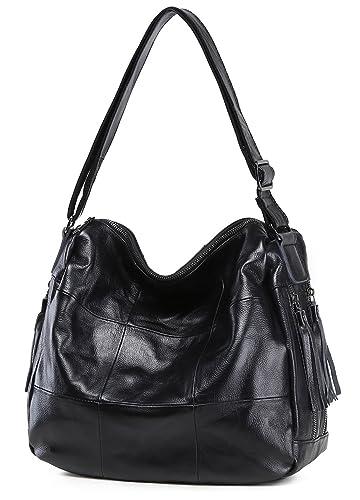 7244002eb1af Iswee Women Soft Leather Shoulder Bag Vintage Cross Body Bag Fashion Hand Bag  Satchel (Black