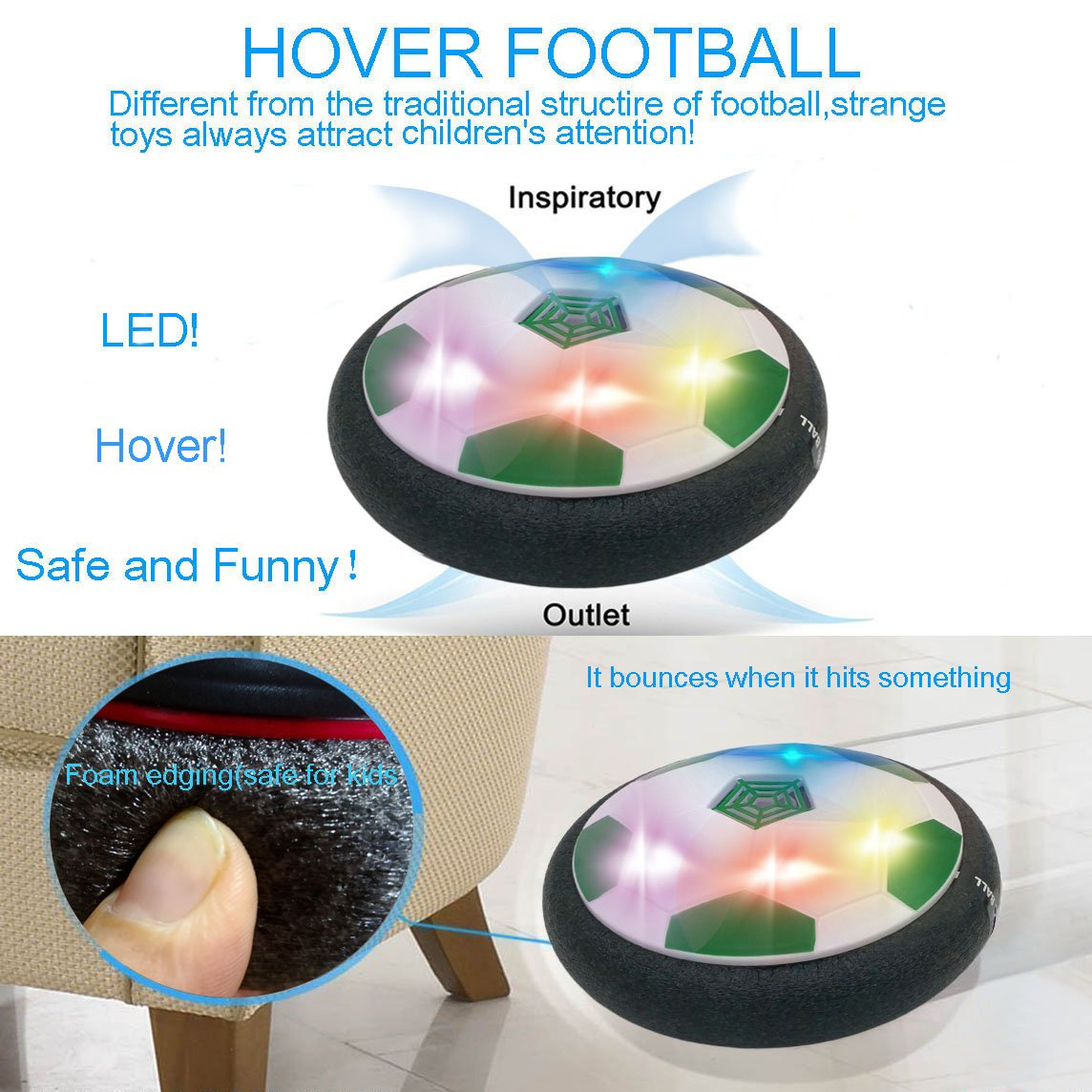 Floating Football Toys for 7 yr Old Boy Birthday Gift to Training Football Puzzle Game JRD/&BS WINL Gifts for 3-12 Years Old Boys Style2 Blue