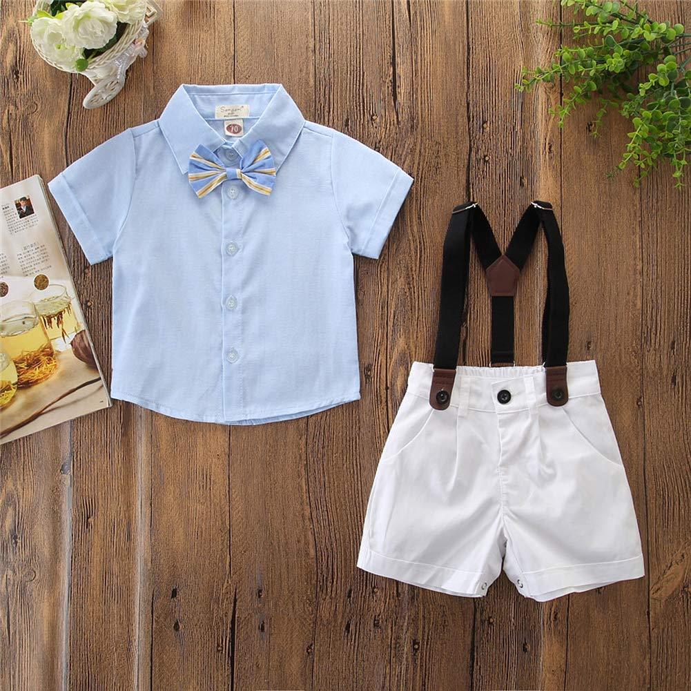 Bib Shorts Overalls Clothes Set Infant Baby Kid Boys Gentleman Outfits Suits Bowtie Short Sleeve Shirt