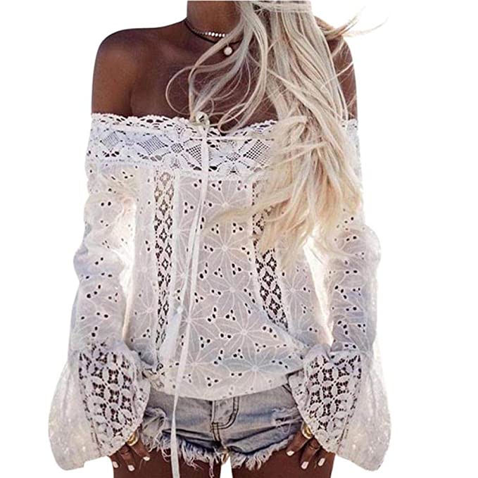Overdose Women Off Shoulder Long Sleeve Hollow Patterned Trumpet Sleeves Fashion Model Beach holidayLace Loose Blouse