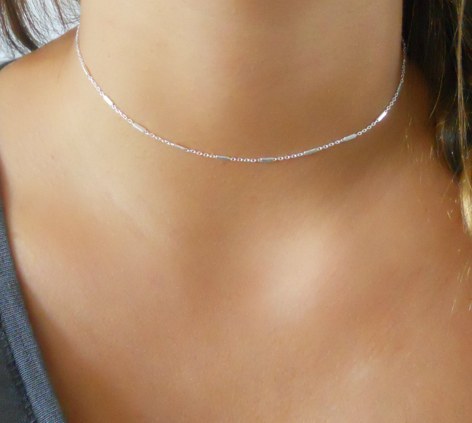 Handmade Silver Choker Necklace For Women - 925 Sterling Silver Chain With Tiny Tubes