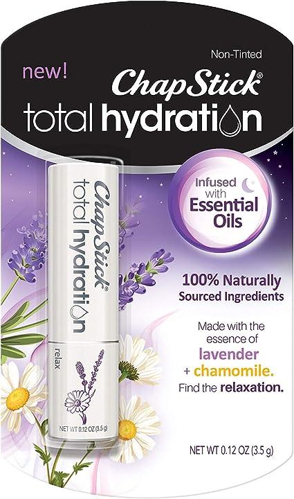 ChapStick Total Hydration Essential Oils Lip Balm Relax Lavender + Chamomile (0.12 oz Tube)