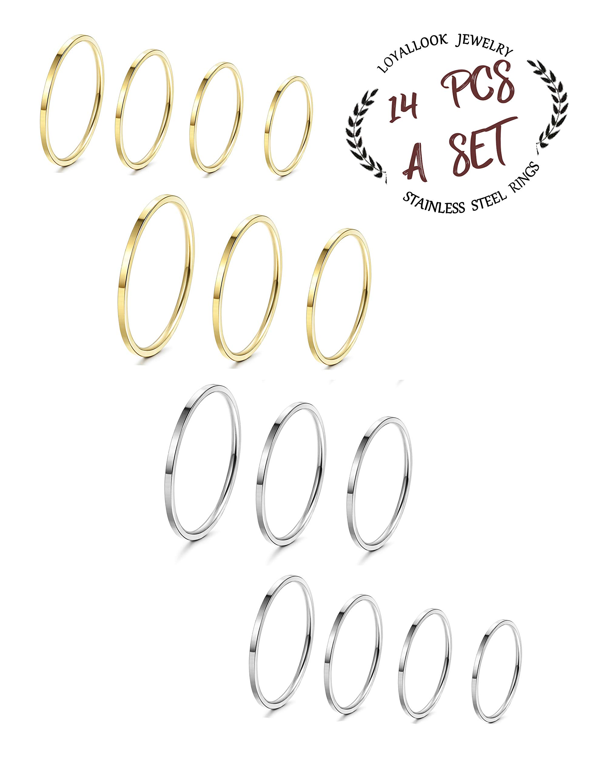 LOYALLOOK 14Pcs Thin Stacking Rings Stainless Steel 1MM Knuckle Midi Ring for Women Girls Silver-Tone Gold-Tone,Size 3-9