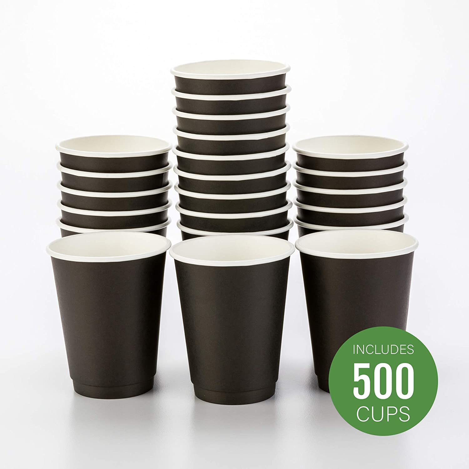 500-CT Disposable Black 12-oz Hot Beverage Cups with Double Wall Design: No Need for Sleeves - Perfect for Cafes - Eco Friendly Recyclable Paper - Insulated - Wholesale Takeout Coffee Cup