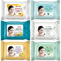 Epielle Assorted Makeup Remover Facial Cleansing Wipes Towelettes - 30ct (Sheets) per pack, 1-Aloe Vera, 1-Argan Oil, 1…