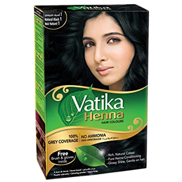 Vatika Henna Hair Colour Natural Black 6 Schets X10 Net 60g