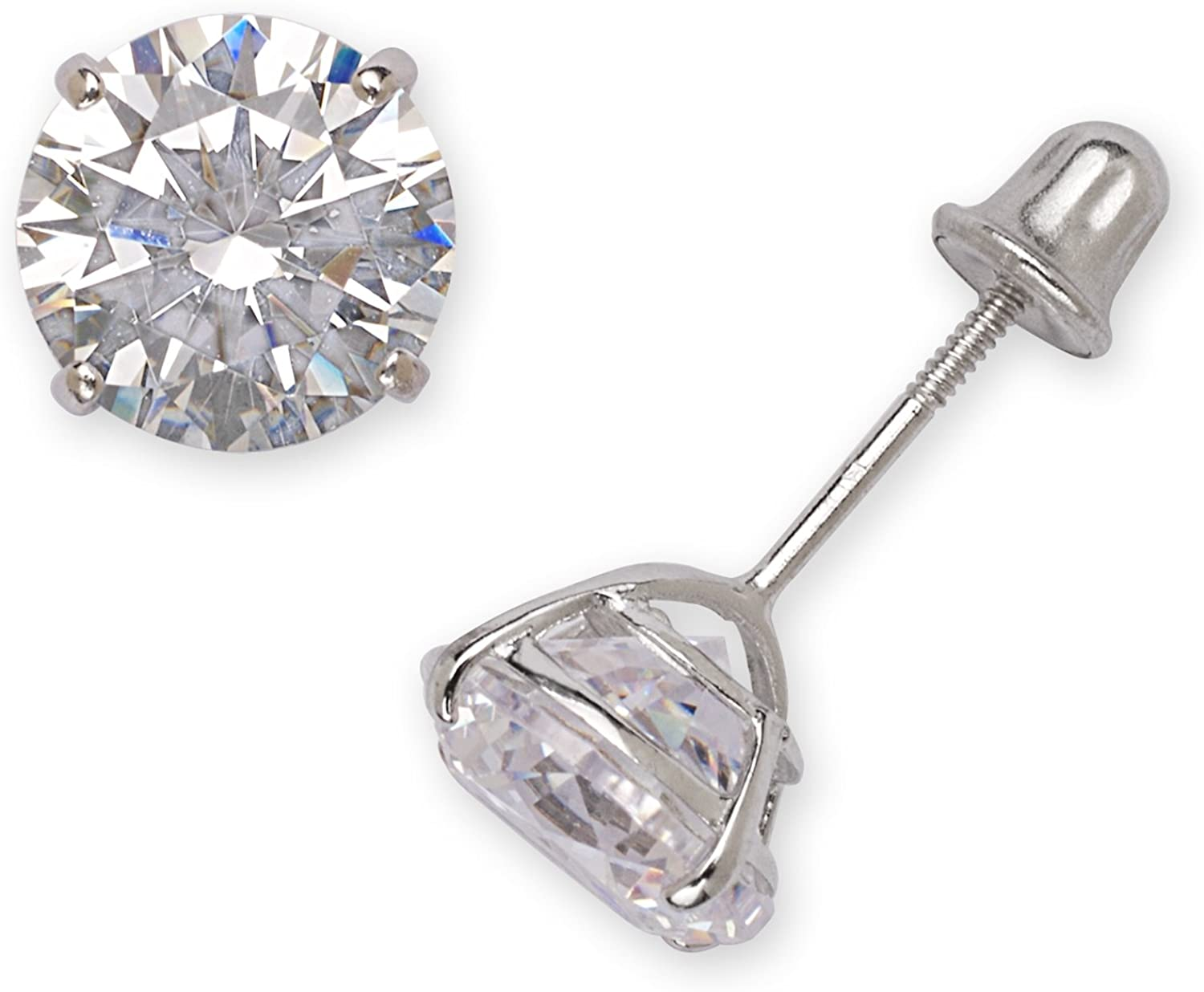 6mm-8mm Jewelryweb 14k Yellow or White Gold Solitaire Round Cubic Zirconia CZ Dangling Drop Lever-back Earrings