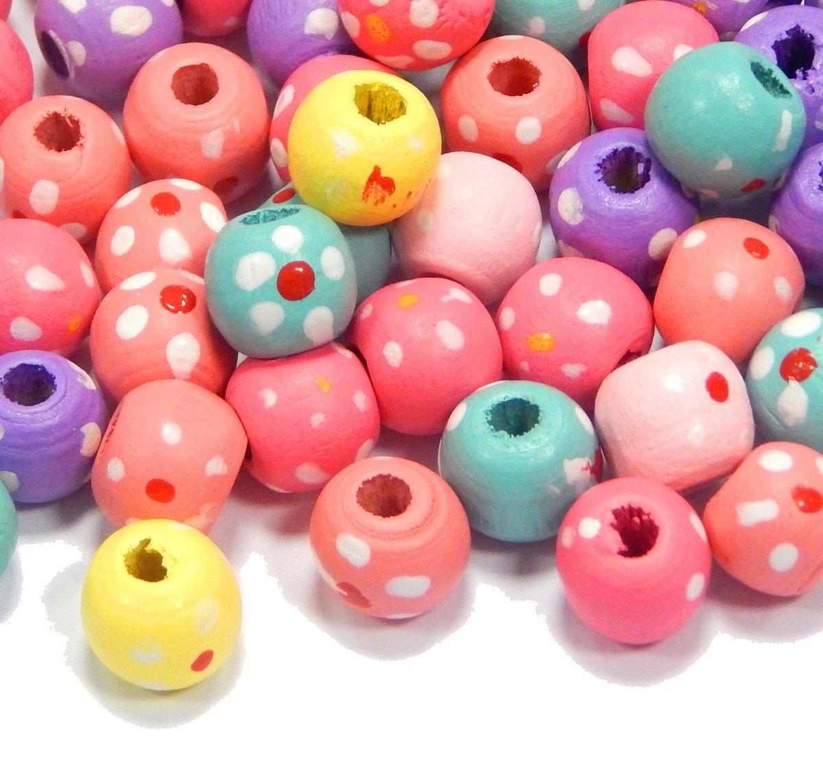 250 perlas de madera de 8 mm con agujero multicolor Donut perlas de madera para enhebrar perlas mezcla para DIY joyas fabricaci/ón Wood Beads H55