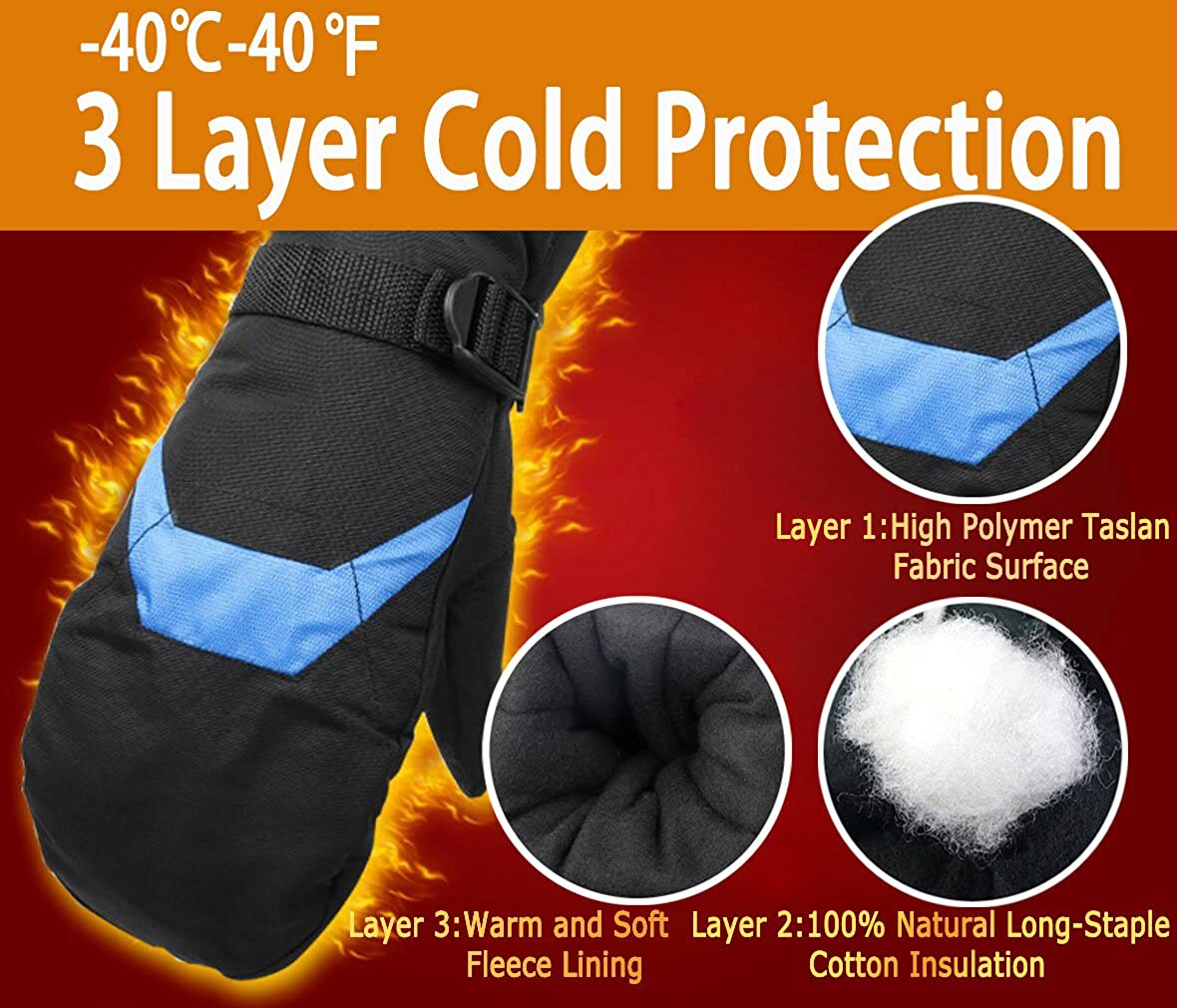 Windproof Waterproof Thermal Mitts Mittens Gloves for Man Male Black//Grey Warm Outdoor Winter Snow Gloves for Skiing Snowboarding Snowmobile Snowballs Shredding Shoveling Barrageon Ski Gloves