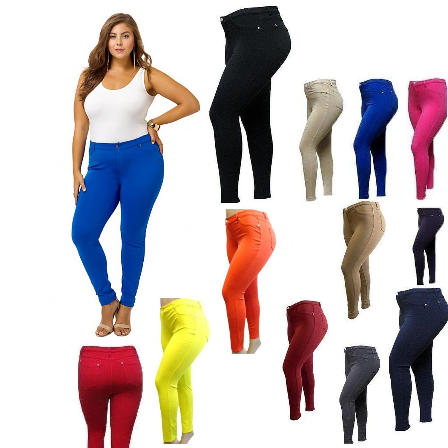 9f8bd86d53e 1826 NEW Stretchy PONTE HIGH WAIST WOMENS PLUS SIZE pants SKINNY LEG size  PL2676 at Amazon Women s Clothing store