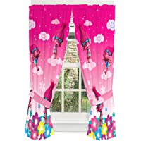 "Dreamworks Trolls Poppy Kids Room Window Curtain Panels with Tie Backs, 82"" x 63"", Pink"